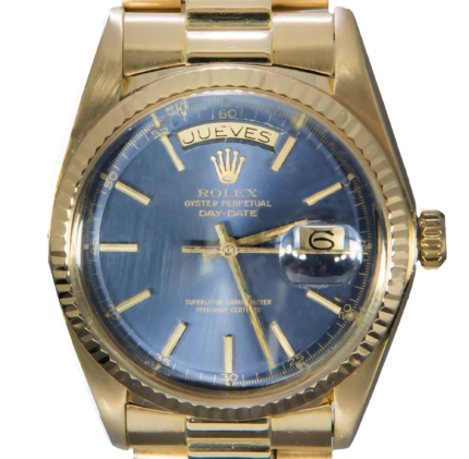Rolex Day-Date 18K Gold President Tritium Blue Dial Box & Papers