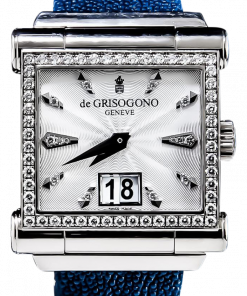 De Grisogono Instrumento Grande SO2 White Gold Case Diamond Bezel Stingray Skin Strap