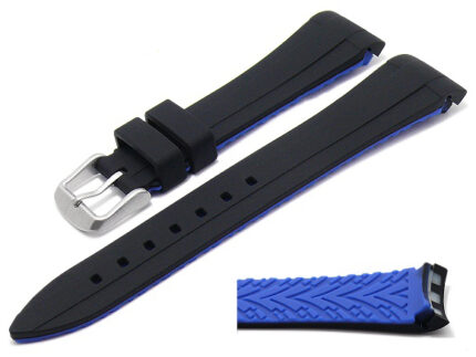 Watch band for Rolex silicone underside blue lug width 20 mm