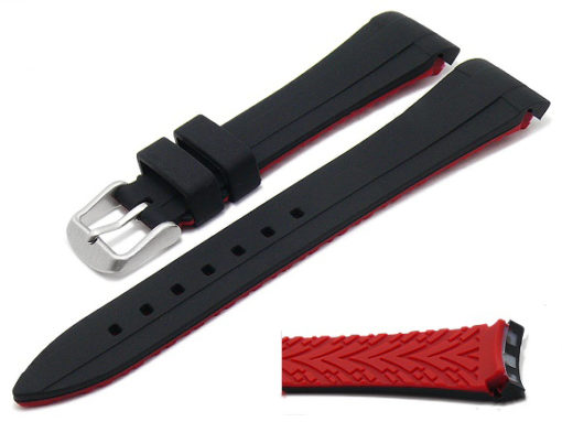 Watch band for Rolex silicone underside red lug width 20 mm