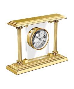 El Casco Desk Clock & Pen Holder Gold