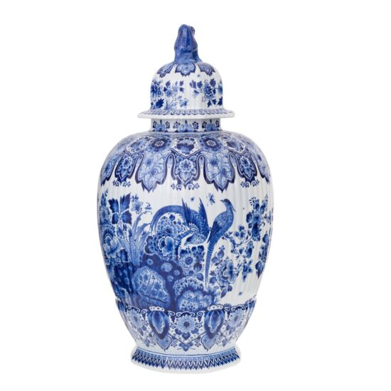 Royal Delft Jar with Lid Floral and Birds The Original Blue Collection