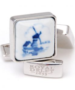 Royal Delft Cufflinks Square Windmill The Original Blue Collection