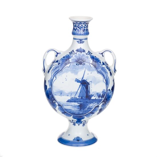 Royal Delft Wide Vase Windmill The Original Blue Collection