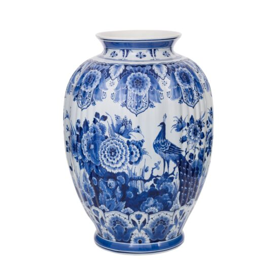 Royal Delft Luxury Vase Flowers and Birds The Original Blue Collection
