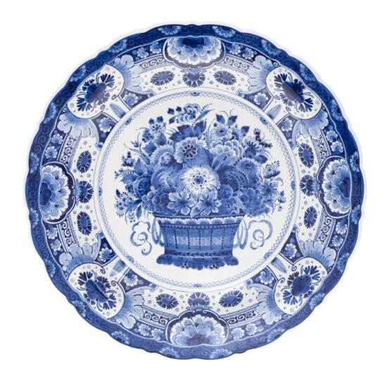 Royal Delft Plate with Flowers Basket The Original Blue Collection