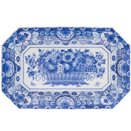 Royal Delft Oval Plate with Flower Basket The Original Blue Collection