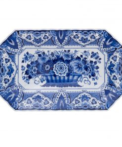Royal Delft Small Oval Plate with Flower Basket The Original Blue Collection