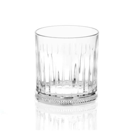 Chinelli Set of 6 Glasses & Bottle Whiskey Timeless Silver Perforated