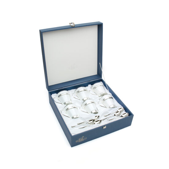 Chinelli Set of 6 Tea Cup Elegant Silver Gift Box