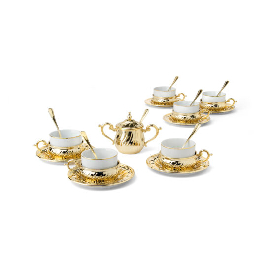 Chinelli Set of 6 of Luxury Torciglione Gold Tea