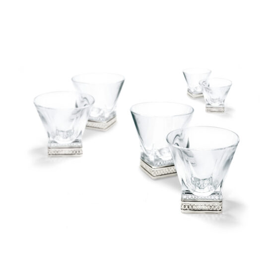 Chinelli Whiskey Set of 6 Glasses In Silver Perforated Fusion Crystal