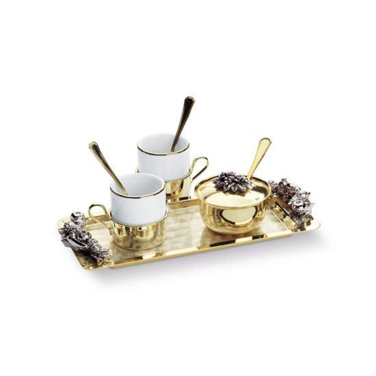 Chinelli You and Me Sera Fruit Gold Rectangular Coffee Set