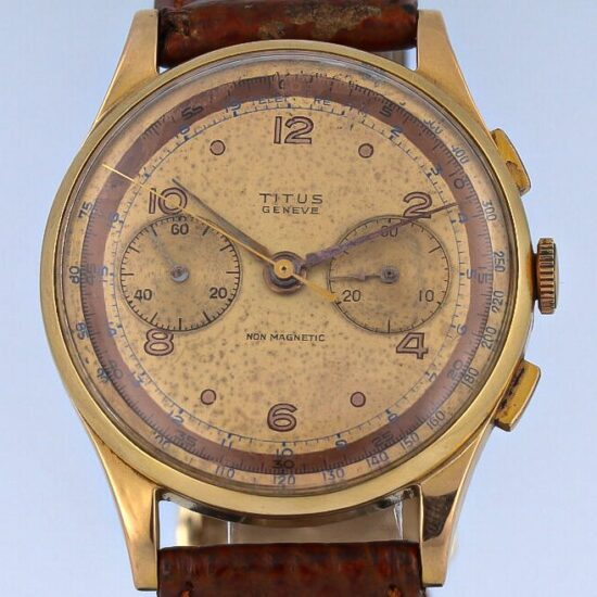 Titus non Magnetic Serviced Vintage Chronograph Red Gold