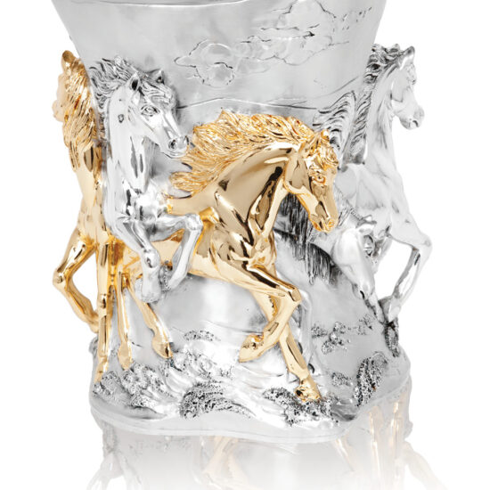 Linea Argenti Cavalli vase in silver resin with gold details