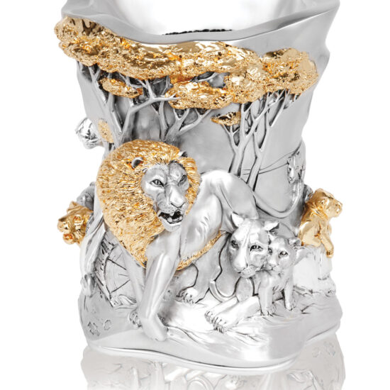 Linea Argenti Lions vase in silver resin with gold details
