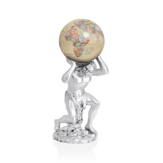 Linea Argenti Double Atlas Statue in Silver Resin without Base