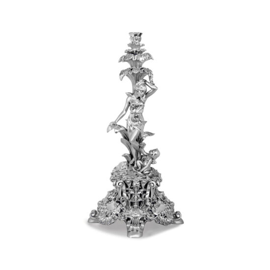 Linea Argenti Candle Holder with Cupid and Woman
