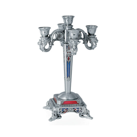 Linea Argenti Candle Holder for 5 Candles with Enamel Decorations