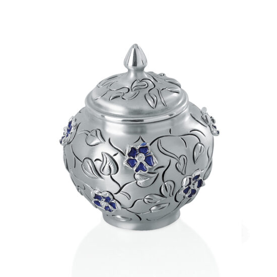 Linea Argenti Silver Resin Decorative Pot with Flowers