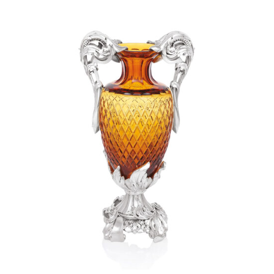 Linea Argenti Silver-coated Resin Amber Colored Crystal Vase