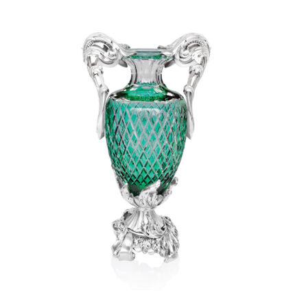 Linea Argenti Silver-coated Resin Green Colored Crystal Vase