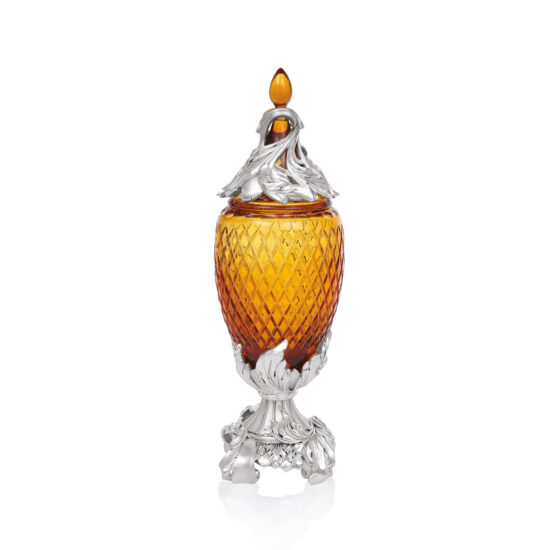 Linea Argenti Silver-coated Resin Amber Colored Crystal Pot