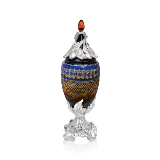 Linea Argenti Silver-coated Resin Blue Colored Crystal Pot