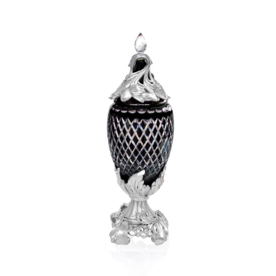 Linea Argenti Silver-coated Resin Black Colored Crystal Pot