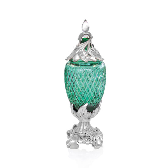 Linea Argenti Silver-coated Resin Green Colored Crystal Pot
