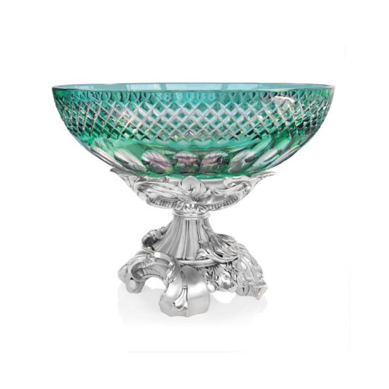 Linea Argenti Silver-coated Resin Green Colored Crystal Oval Sump