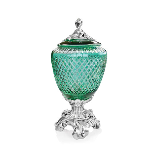 Linea Argenti Silver-coated Resin Green Colored Crystal Pot Baroque Style