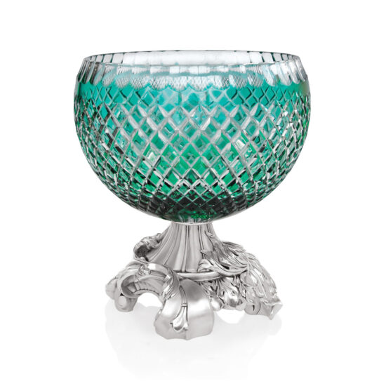 Linea Argenti Silver-coated Resin Green Colored Crystal Glass Bowl