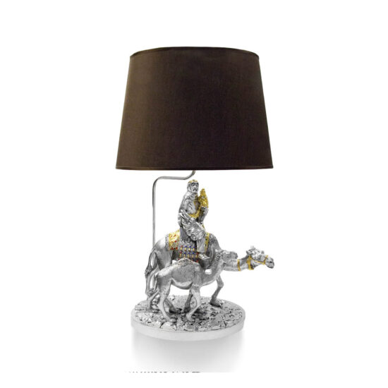 Linea Argenti Silver-coated Camel and Bedouin Table Lamp