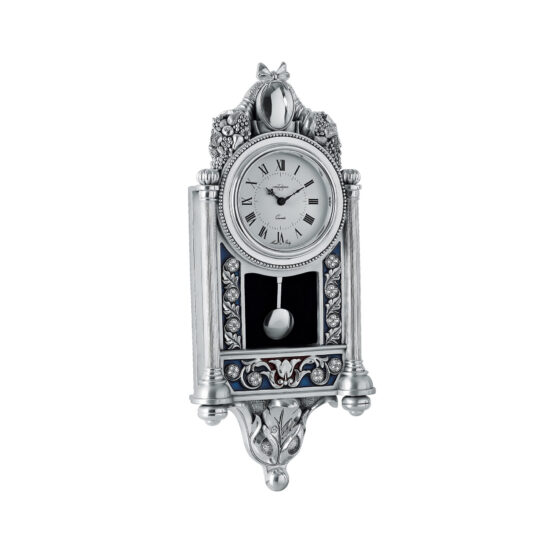 Linea Argenti Silver-coated Wall Clock with Enamel Decoration