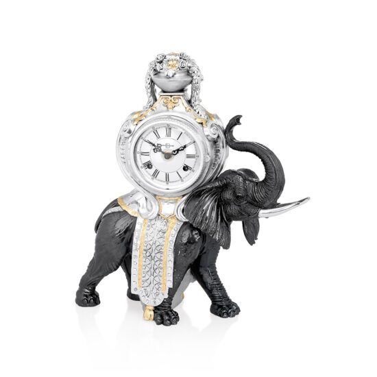 Linea Argenti Silver-coated Desk Clock with Black and Gold Details