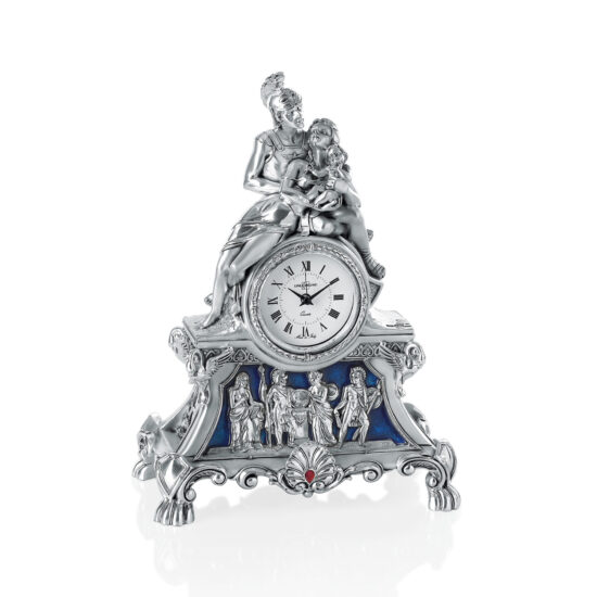 Linea Argenti Silver-coated Desk Clock with Warrior