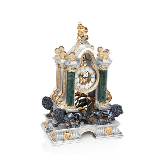 Linea Argenti Silver-resin Pendulum Clock with Lions in Black and Gold