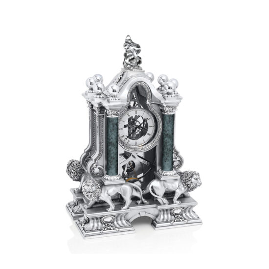 Linea Argenti Silver-resin Pendulum Clock with Silver Lions