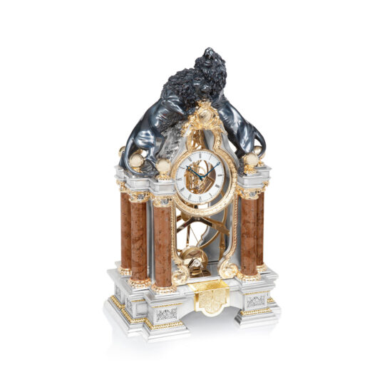 Linea Argenti Silver-resin Pendulum Clock Pair of Lions in Black and Gold Details