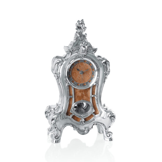 Linea Argenti Silver-resin Pendulum Clock with Red Marble