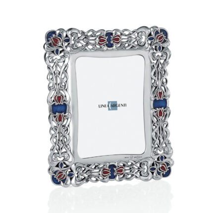Linea Argenti Silver-resin Photo Frame with Tulips and Enamel Decoration