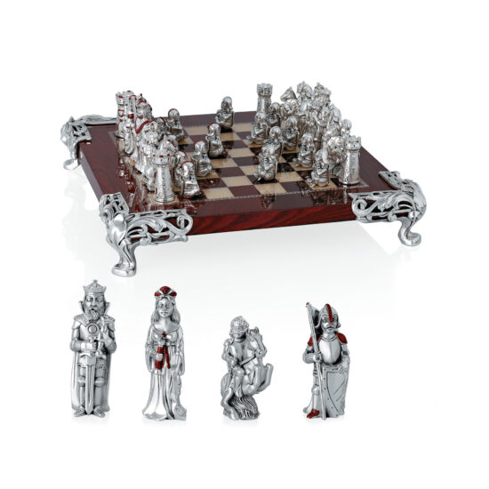 Linea Argenti Chessboard in Silver-resin and Red Wood