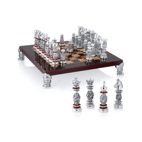 Linea Argenti Silver-resin and Dark Red Wood Chessboard