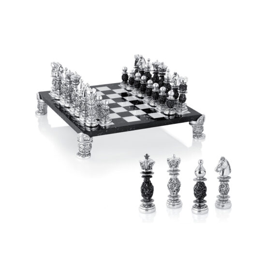 Linea Argenti Silver-resin and Black and White Marble Chessboard