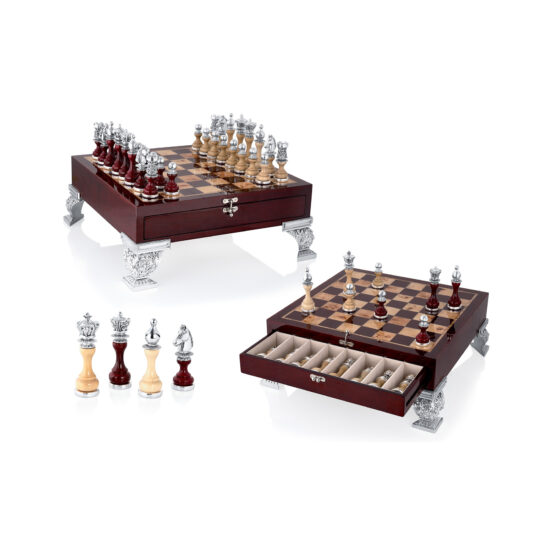 Linea Argenti Silver-resin and Red Wood Chessboard with Drawer