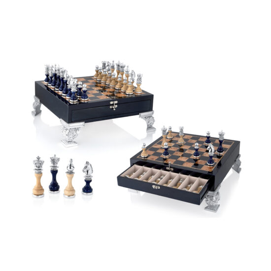 Linea Argenti Silver-resin and Blue Wood Chessboard with Drawer