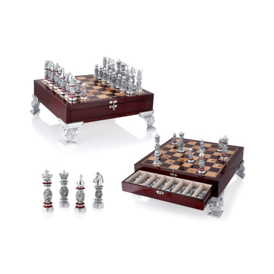 Linea Argenti Silver-resin and Dark Red Wood Chessboard with Drawer