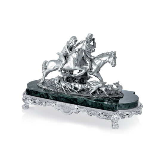 Linea Argenti Silver-coated Resin Fox Hunting Horses