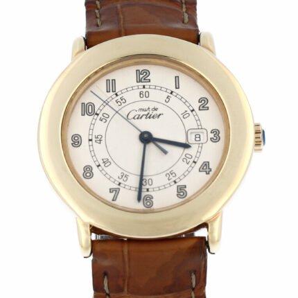 Cartier Must De Cartier Ronde Rare Dial Arabic'' NOS Rondo 32MM Like new condition Gold PL - 18001
